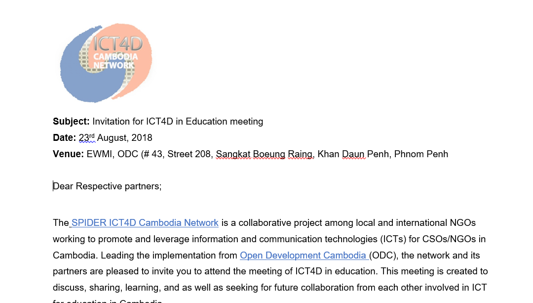 Invitation for join ICT4D in Education meeting